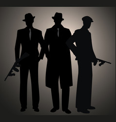Three retro style men silhouettes wearing hat and vector