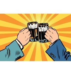Toasting hands beer party poster vector