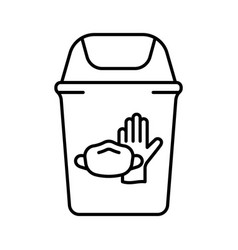 Trash can with latex glove face mask disposal of vector