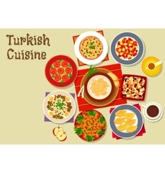 Turkish cuisine dishes for festive dinner icon vector image