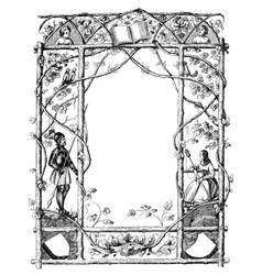 vintage drawing ornate frame with natural vector image