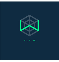 w monogram letter web logo vector image
