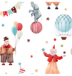 Watercolor circus pattern vector