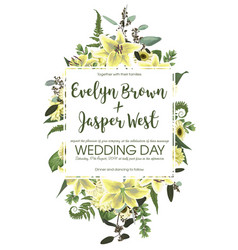 Wedding floral invitation invite card vector