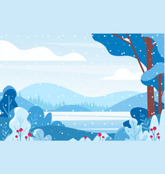 winter lake scenery flat vector image
