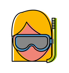 woman with snorkel mask icon vector image