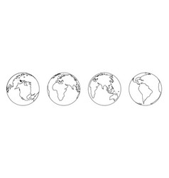 world in line style outline earth icons simple vector image