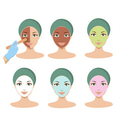 Young woman apply different facial masks line vector