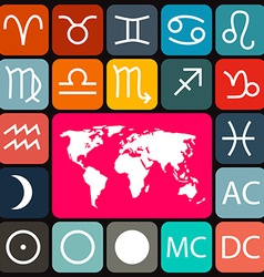 Zodiac - Horoscope Rounded Square Icons Set and vector