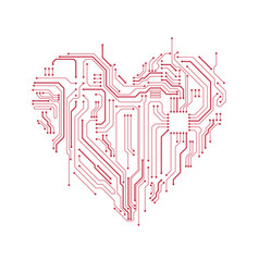 circuit board heart symbol vector image