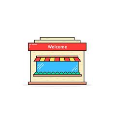 color linear shop building icon vector image vector image