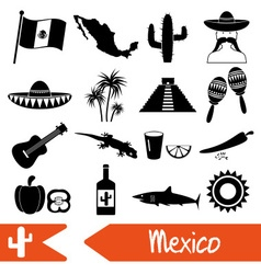 Mexico country theme symbols icons set eps10 vector image vector image
