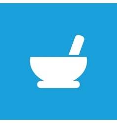 Mortar and pestle icon white vector image