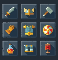 Relief game icon set on stone vector image vector image