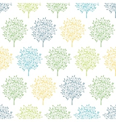Summer trees colorful seamless pattern background vector image