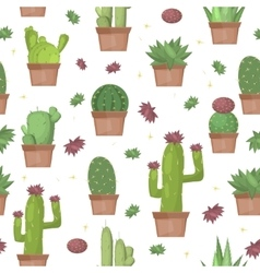 Cactus seamless pattern background vector image vector image