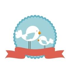 cute bird decorative card vector image