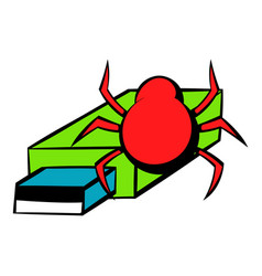 Flash drive infected by virus icon cartoon vector