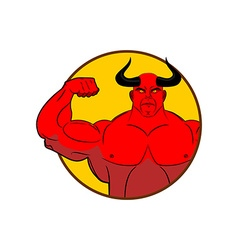 Logo for gym Satan bodybuilder shows biceps Emblem vector image