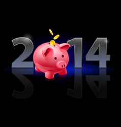New year 2014 metal numerals with piggy bank vector