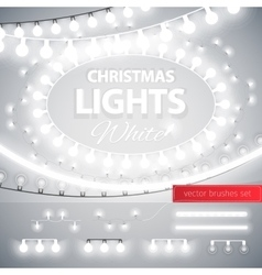 White Christmas Lights Decoration Set vector image