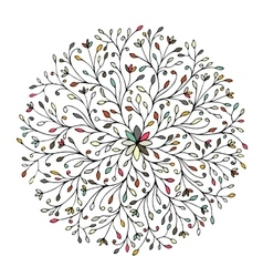 Floral circle ornament hand drawn sketch for your vector image vector image
