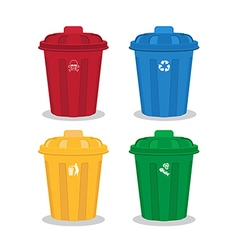 many color wheelie bins set of waste vector image vector image