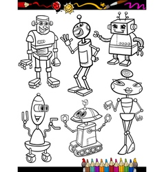 Robots Cartoon Set for coloring book vector image vector image