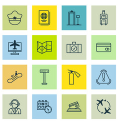 Set of 16 transportation icons includes internet vector