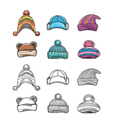 sketch and colorful winter hat set vector image