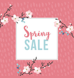 spring sale poster with blossoming cherry tree vector image