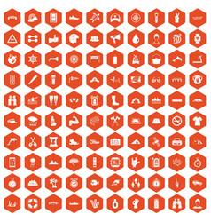 100 rafting icons hexagon orange vector