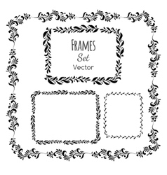 Black and white floral elements and frames set vector image