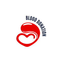 blood donation icon of heart and drop vector image vector image