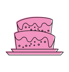 Cake with icing icon image vector