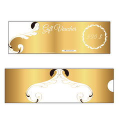 elegant discount gift voucher of gold color leafy vector image vector image