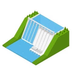 Hydroelectricity Power Station Isometric View vector image