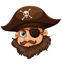 pirate wearing hat and eyepatch vector image vector image