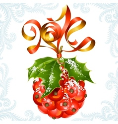ribbon in the shape of 2014 and holly ball vector image