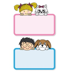 Setting children with their pets vector image vector image