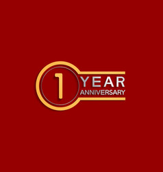 1 year anniversary golden and silver color vector