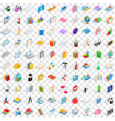 100 school and education icons set vector image