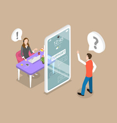 3d isometric flat concept customer vector image