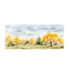 A watercolor card of autumn forest vector
