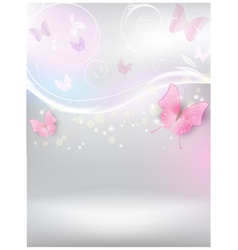 Abstract background with florals and butterflies vector