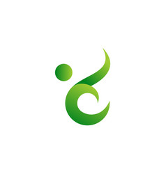 abstract green people leaf icon logo vector image