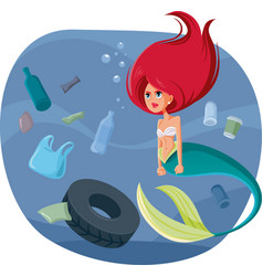 Angry mermaid surrounded garbage in polluted vector