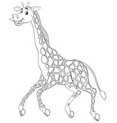 Animal outline for giraffe running vector