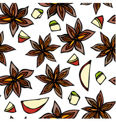 Anise star seed slices of pear pieces of diced vector