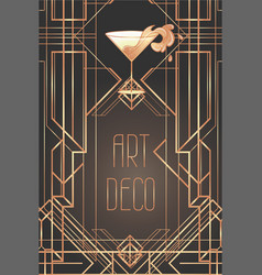 Art deco cocktail glass with splash in 1920s style vector